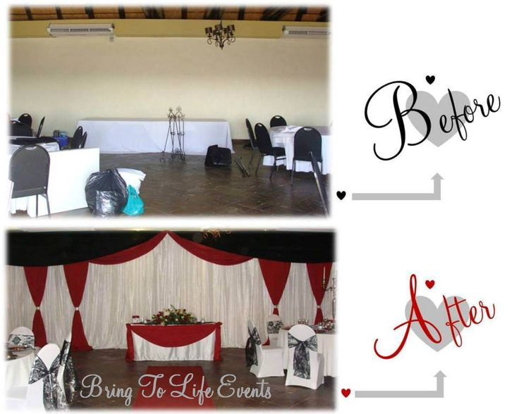 Maroon, black and white backdrop draping and table draping