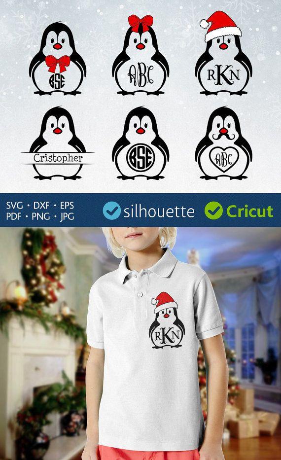 Penguin svg monogram frame svg Circle initial border by PlayCut