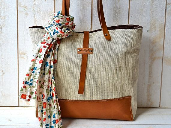 BEST SELLER Linen tote bag cotton Eco friendly ORGANIC  Medium  Natural French  tote bag  with Brown Leather strap / Market tote Bag