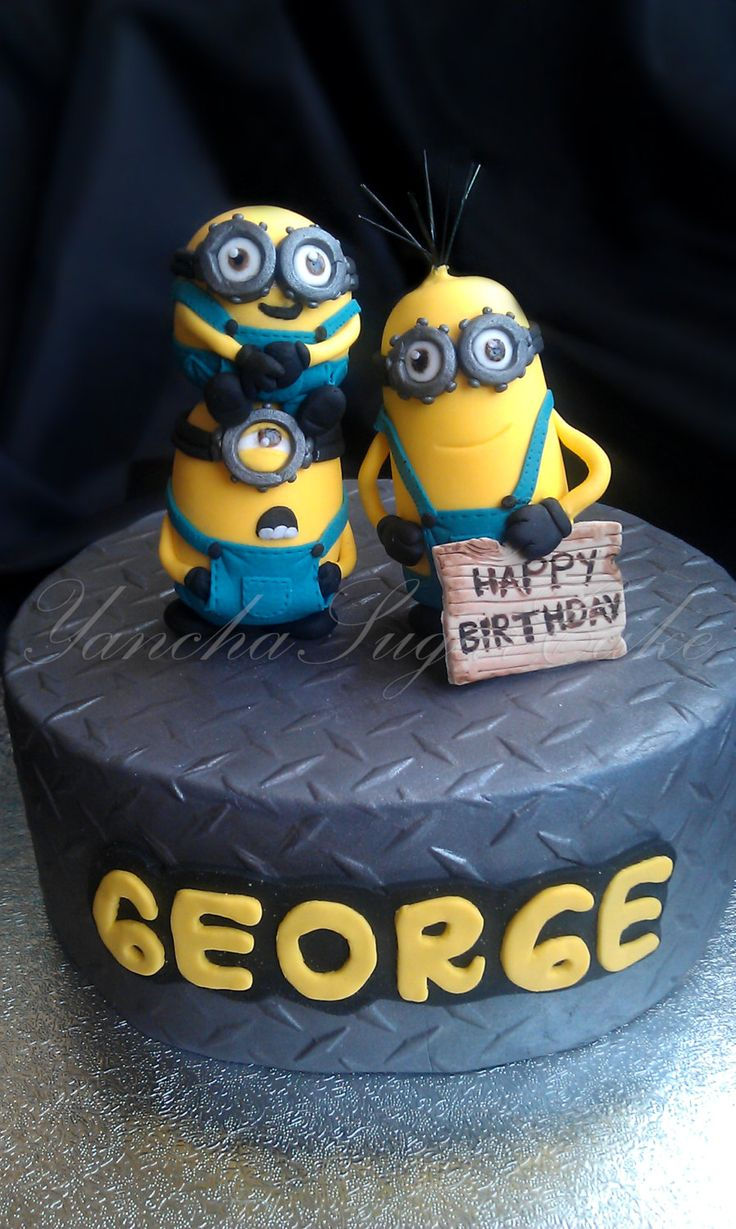 Minion Fondant Edible Cake set 3 figures and a Fondant Edible Name Plaque, Minion birthday, Minion cake topper, Fondant minion, party minion by YanchaSugarCake on Etsy