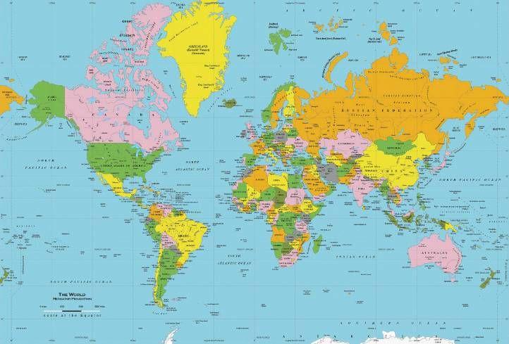 Mapa Político Del Mundo Colores Clasicos