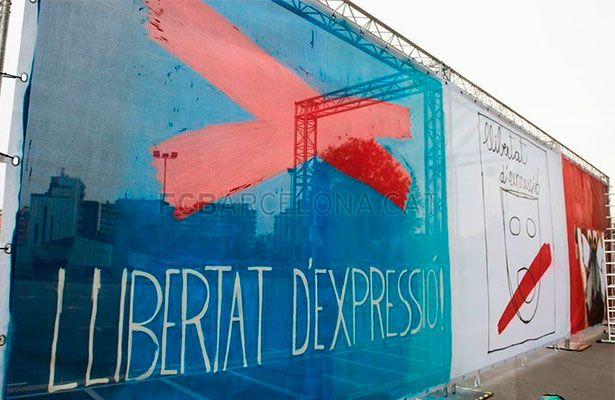 El Barça exhibe en el Camp Nou pancartas a favor de la libertad de expresión - Antes del inicio del partido contra el Eibar, el Barcelona, por iniciativa de su junta directiva, ha mostrado tres pancartas reivindicando la libertad...