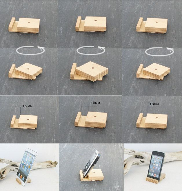 Basamento del telefono, Stand phone tablet, Ipad iPhone Titolari, regalo per gli ospiti / clienti, stand in legno, basamento smartphone, gadget, legno, supporto ufficio, una docking...
