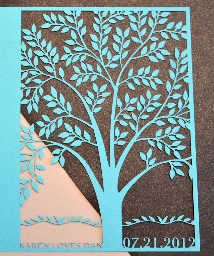 Laser cut tree wedding invitation with personalized names and date. # ...