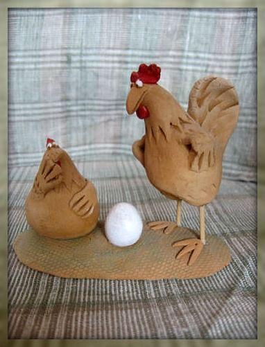 Статуэтки ручной работы. Ярмарка Мастеров - ручная работа. Купить Я бы тому страусу.... Петух. Курица. Керамика.. Handmade.