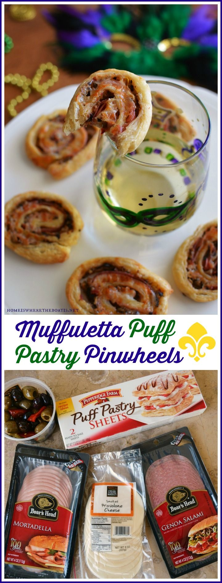 Let the Good Flavors Roll for Mardi Gras with Muffuletta Puff Pastry Pinwheels! Inspired by the quintessential New Orleans sandwich of cured meats, cheese and tangy olive salad, these pinwheels are a quick and easy to throw together for a taste of the Big Easy to celebrate Mardi Gras, or anytime you need a savory appetizer to serve with cocktails or enjoy with a glass of wine!