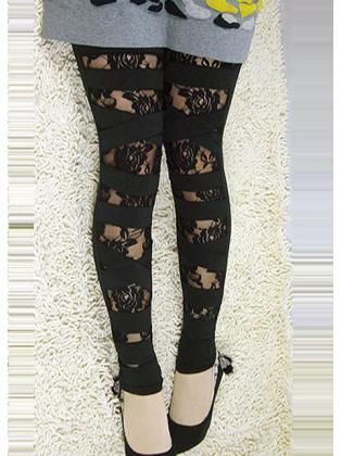 Double Layered Lace Cut Off Leggings