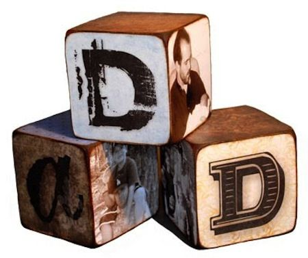 DIY Fathers Day craft Mod Podge letter blocks