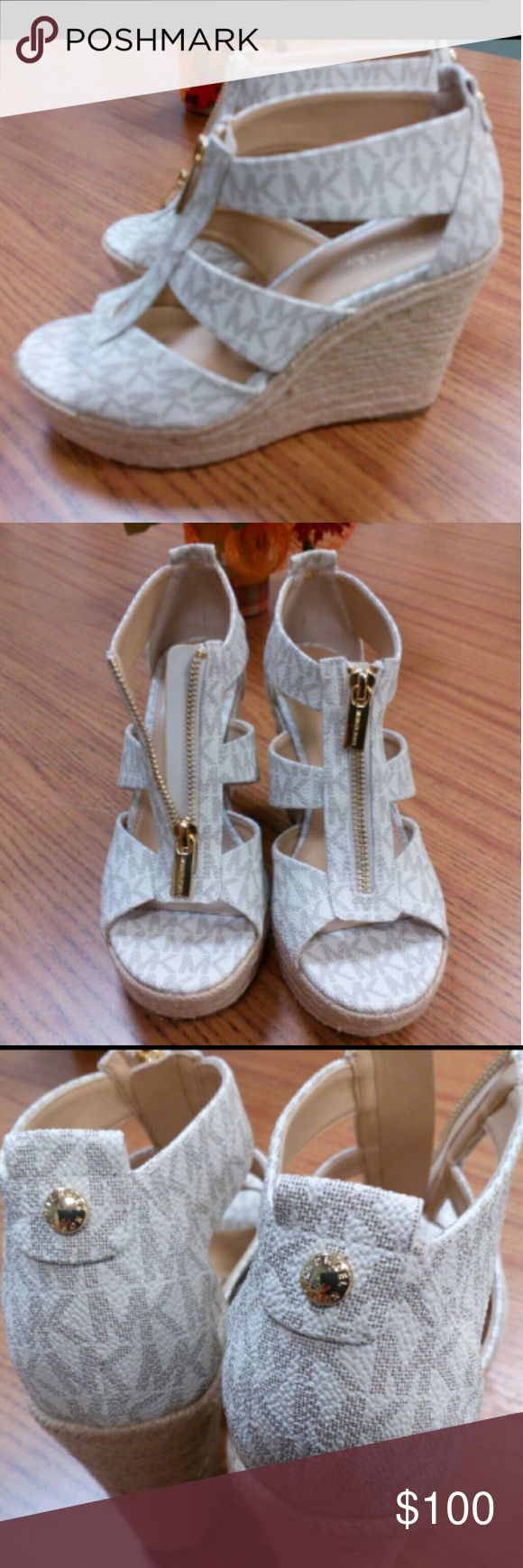 Michael Kors Damita Wedges! TRADES WELCOMED! Ivory colored,Leather,Gold zipper hallmarked Michael Kors! Beautiful design! New without box! Michael Kors Shoes Wedges