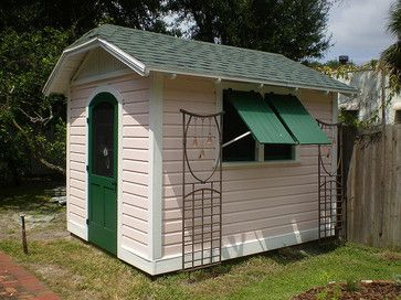 clipped gable garden shed to complement a historic tudor influenced bungalow in tampa florida - Garden Sheds Florida