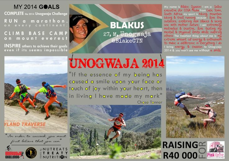 Unogwaja 2014: Blake Dyason. Raising the most for charity, Blake is ready to take up this years challenge!
