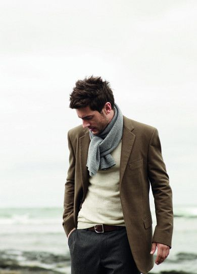 I like this because the scarf is a subdued color related to the jeans and the sweater relates to the jacket. You also get 4 different levels of color brightness for an aesthetic gradient effect.