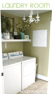 #Great decor for a laundry room.: Wall Colors, Decor Ideas, Houses Of Smith, Lights Fixtures, Paintings Colors, Shelves, Laundry Rooms, Rooms Ideas, Decor Blog
