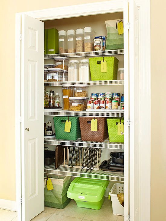 By adding bins, baskets, and clear containers, the pantry stays clean and organized: http://www.bhg.com/kitchen/storage/pantry/kitchen-pantry-makeover-ideas/?socsrc=bhgpin012715consistentorder&page=2