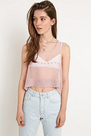 Urban Renewal Vintage Remnants Embroidered Scallop Cami in Dusty Pink - Urban Outfitters