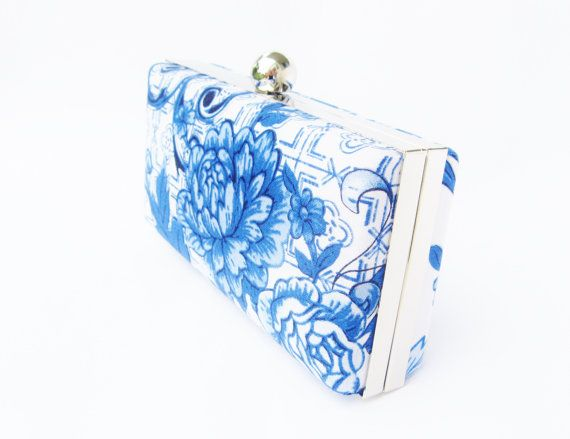 bridal accessories, blue and white porcelain clutch by VincentVdesigns, $48.00