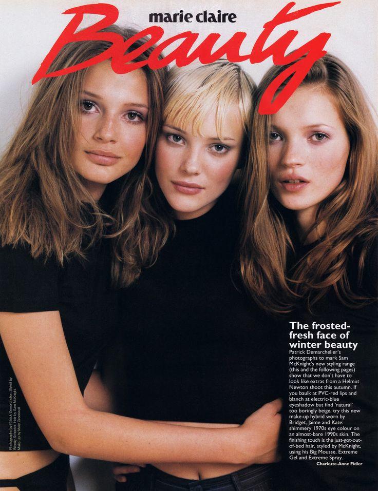 "freakowiak: "" Bridget Hall, Jaime Rishar & Kate Moss by Patrick Demarchelier for Marie Claire, 1990s. """