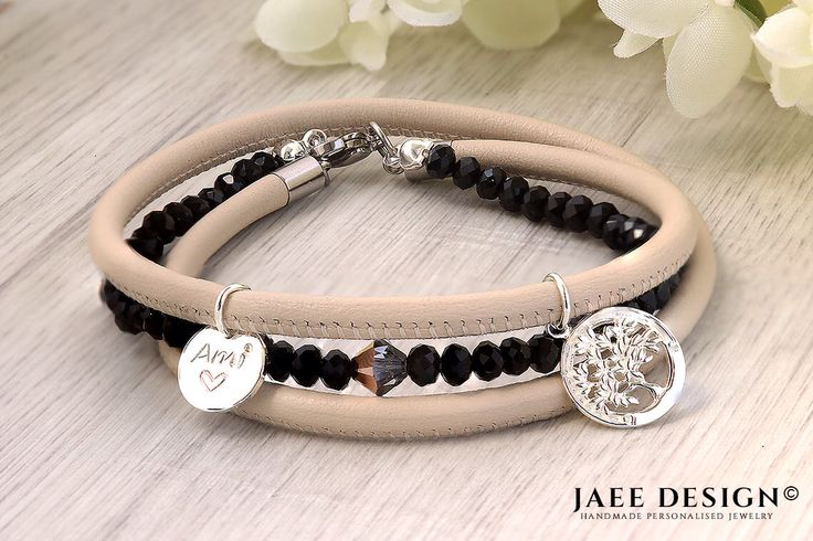 Personalized gift Bracelet - Leather jewelry - Sterling silver SWAROVSKI ELEMENTS© - Mothers day hand stamped gift - Custom made by Jaeedesign on Etsy https://www.etsy.com/listing/515311582/personalized-gift-bracelet-leather