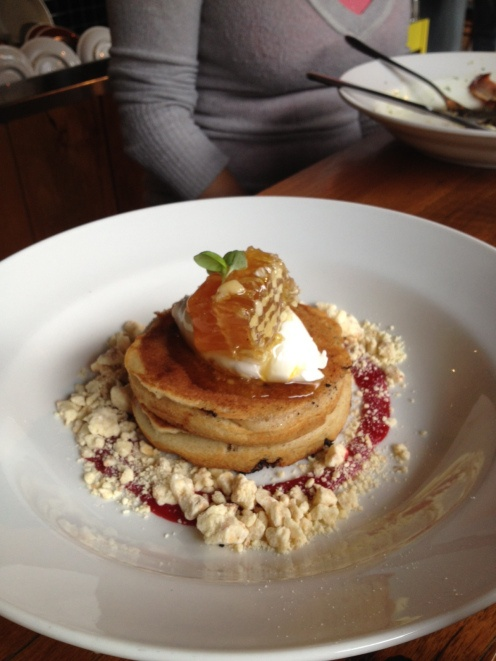 Buttermilk banana pancakes with Rooftop honey comb and white chocolate crumb ($14).
