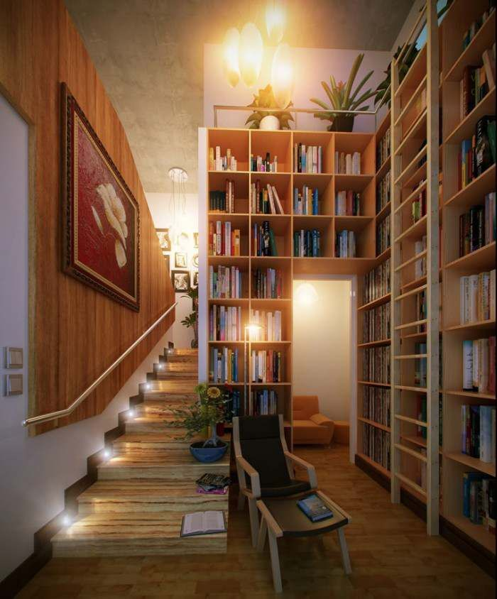 Home Design Stair Led Library Idea Comfortable And Modern Reading Corners