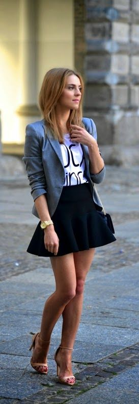 Stlye Me Hip: Classic Grey Blazer with Print Tee and Black Ruffl...