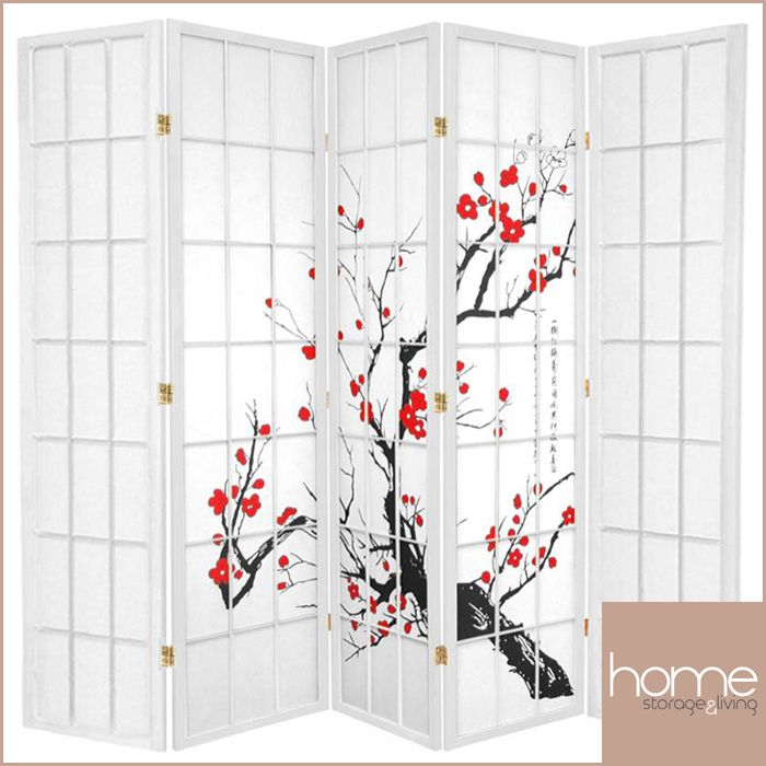 White Cherry Blossom 5 Fold Room Divider - www.hsandl.com.au