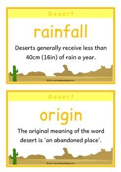 A printable set of 18 fact cards that give fun, interesting and key facts about desert habitats. This set is great for activities, discussions, introducing a new topic and for display boards! Visit our TpT store for more information and for other classroom display resources by clicking on the provided links.
