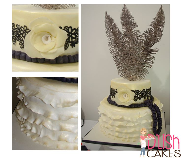 Wedding unique. Birthday cake. Feathers - gold frills. elegant black and gold cake  By D'lish Cakes Broadford www.dlishcakesbroadford.com.au
