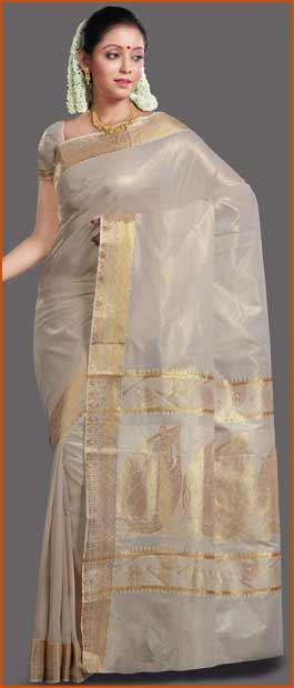 Light #Cream #Cotton Kerala Kasavu #Saree with #Blouse @ $68.60 | Shop Here: http://www.utsavfashion.com/store/sarees-large.aspx?icode=spn611
