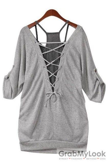 GrabMyLook  Grey Mid Sleeves Blouse