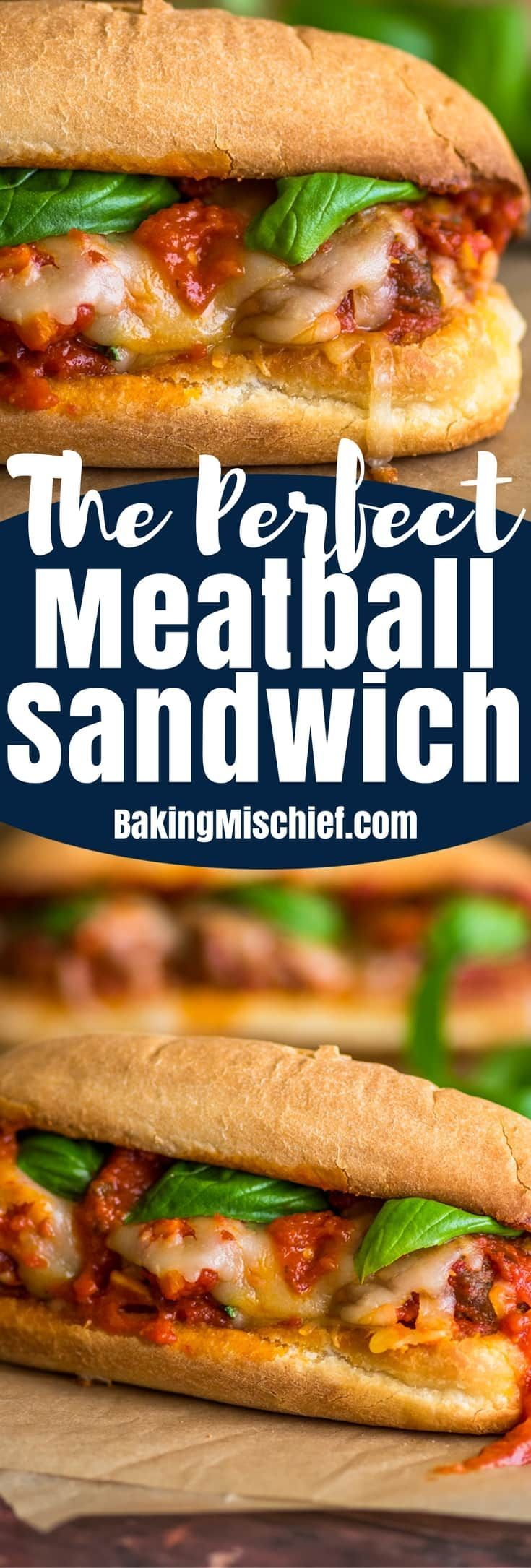 This is The Perfect Meatball Sandwich, made on toasted, buttery garlic bread, with an easy homemade marinara sauce and my favorite beef and sausage meatballs. #sandwiches #meatballs #dinner
