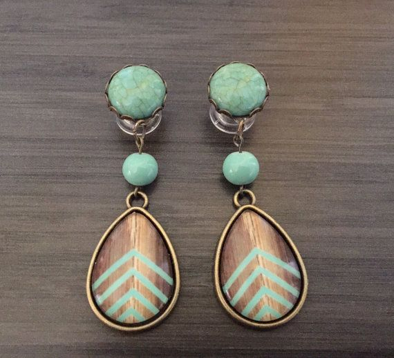 0g Dangle Plugs 4g 2g Gauged Earrings Mint door PrettyVagrant