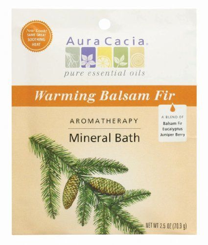 Aura Cacia Warming Balsam Fir Bath Packet, Formerly Soothing Heat, 2.5-Ounce packet, (Pack of 3) by Aura Cacia. $8.97. Lifts away old, dead cells, then softens and soothes. Blends mineral-rich ocean and desert salts with 100% pure essential oils. Essential oils offer specific body, mind and spiritual benefits. Helps you achieve a renewed sense of balance and well-being. Pure aromatherapy. Essential nutrients for skin revival. Evergreen and eucalyptus aroma. Aur...