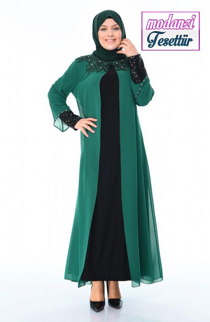 Sefamerve Buyuk Beden Abiye 2020 Buyuk Beden Tasli Abiye Elbise 6055 02 Zumrut Yesili 2020 Moda Stilleri Elbise Elbise Modelleri