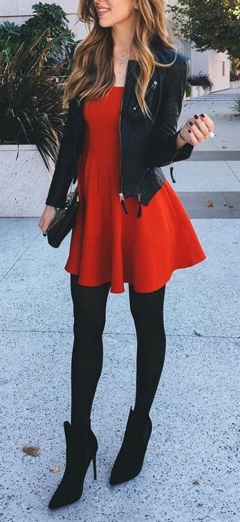 Fashion - Red Dress with Black Leather Jacket, Stockings & Boots