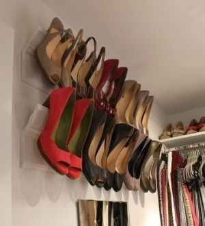 Use crown molding as a place to store your heels.