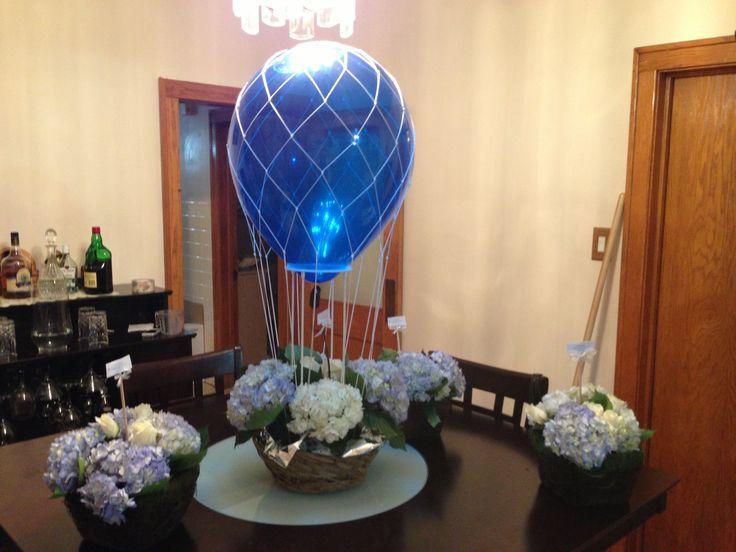 Hot air balloon centerpiece baby shower ideas
