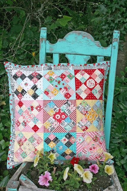 lovely little handmades,           need to make this pillow                        neat pillow..love the colors