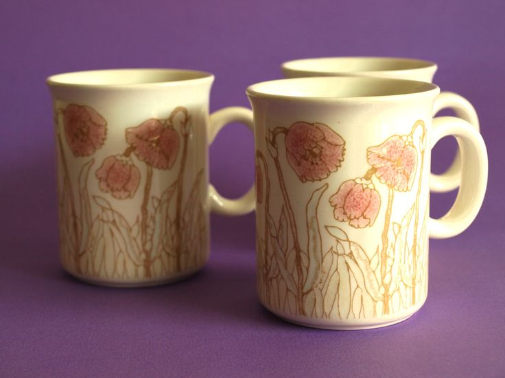 Crown Lynn Pink Poppies Mugs - Vintage Pink Poppy & Brown Coffee Cups - Set of 3 - Made in New Zealand - Design by Juliet Hawkins by FunkyKoala on Etsy