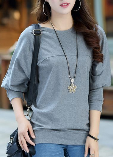 Comfy Grey Dolman Sleeve T Shirt For Women