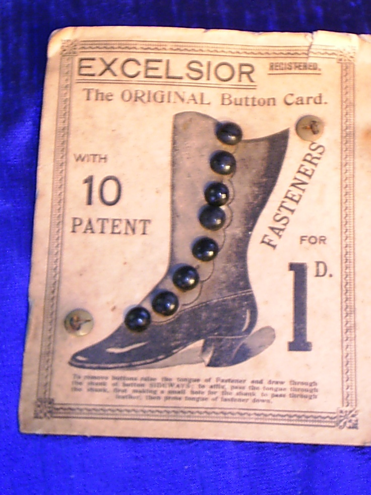 vintage buttons for boots on original card.