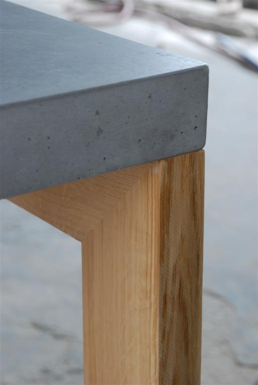 Concrete + oak dining table (detail)