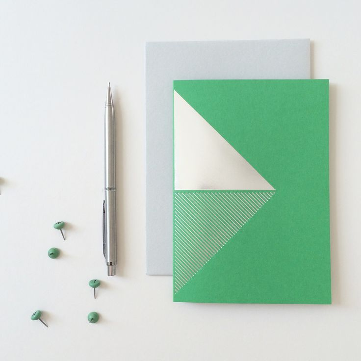Pea green and silver stationery. Collection 2014.