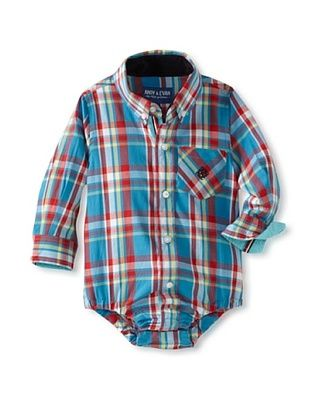 61% OFF Andy & Evan Baby Plaid Like Dad Shirtzie (Turquoise/Aqua)