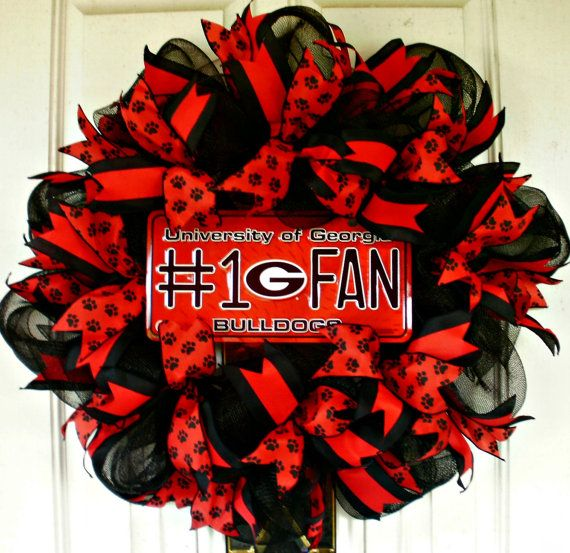 UGA Wreath Georgia Bulldog Wreath Mesh Wreath by MeMaandCo on Etsy