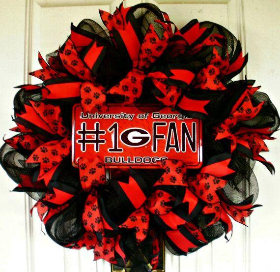 UGA Wreath Georgia Bulldog Wreath Mesh Wreath by MeMaandCo on Etsy