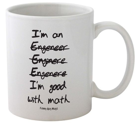 Funny Guy Mugs I'm Good With Math Engineer's Ceramic Coffee Mug, White, 11-Ounce * For more information, visit now : Coffee Mugs
