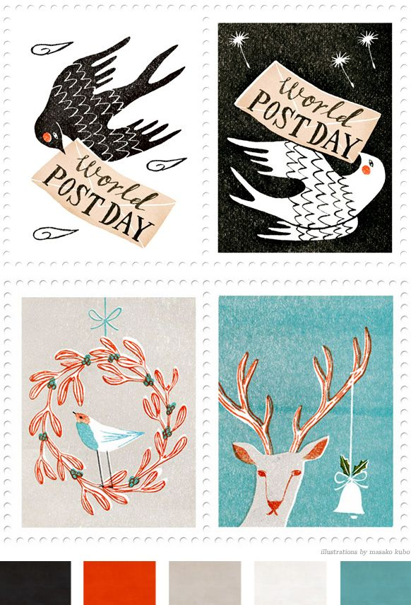 Adorable stamp illustrations by Masako Kubo.