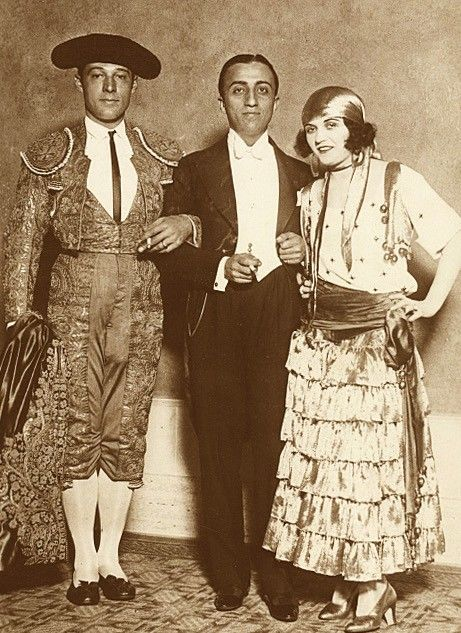 Rudolph Valentino, Manuel Reachi and Pola Negri at the Biltmore Hotel 1926  Valentino is wearing his suit of lights from Blood and Sand, Negri is in costume from The Spanish Dancer.
