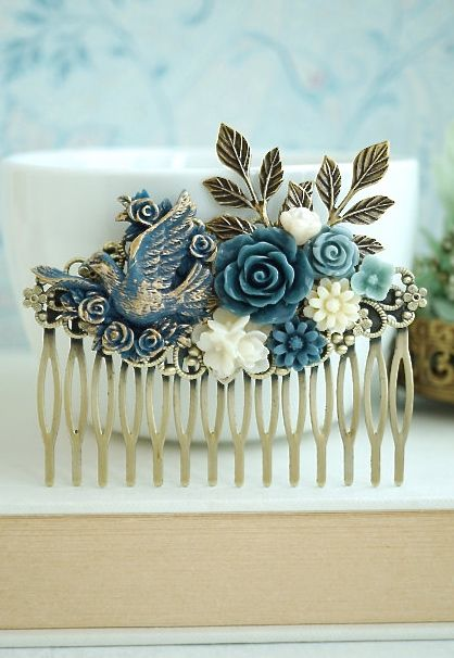 Blue Gold Dove Bird, Dusty Blue, Ivory, Pearl, Navy Grey Blue, Leaves, Rustic Flower LARGE Hair Comb. Bridesmaids Gift, Large Wedding Comb by Marolsha - https://www.etsy.com/listing/236995194/blue-gold-dove-bird-dusty-blue-ivory?ref=shop_home_active_14